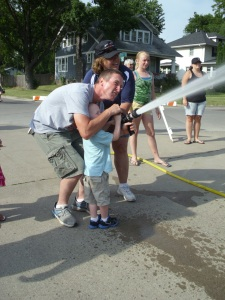 Helping G shoot a firehose