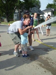 Helping G shoot a firehose