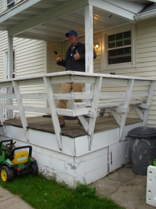 J is happy to see this porch go!