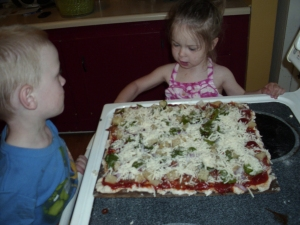 Pizza and helpers (ie mess makers)!