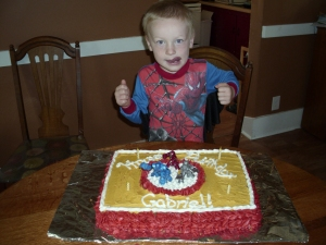 Super G with his Ironman cake
