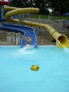 He does enjoy waterslides! (after he decided it was HIS idea)