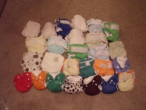 Our newborn cloth diaper stash  +2 on the way. *squeal!*
