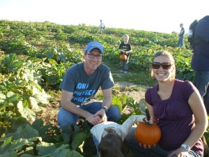 Picking our pumpkins (L is still picking I guess)