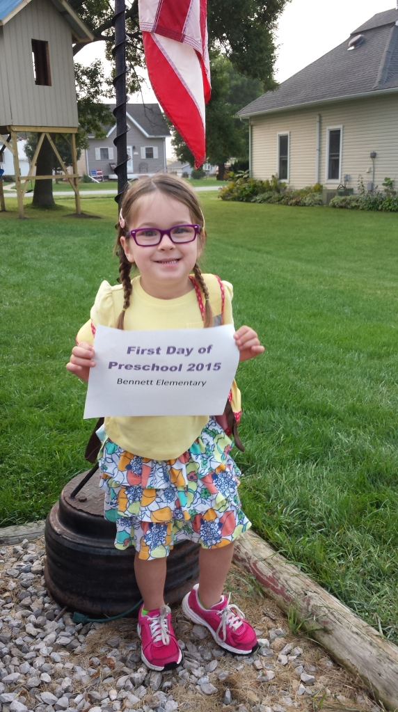 Lucy's first day of 4 year old preschool!