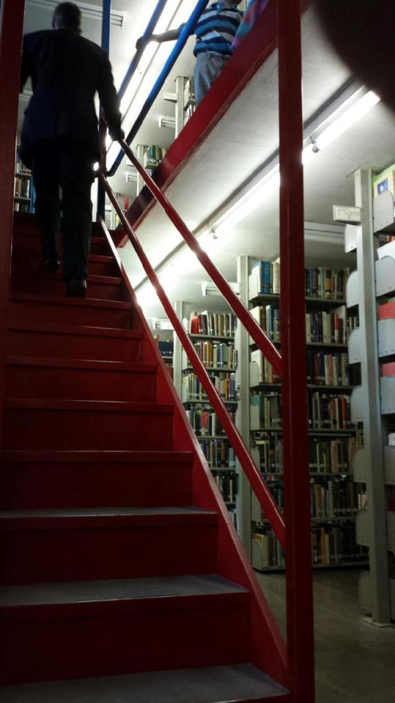 Coolest library ever--it had 3 floors with color coded staircases. G compared it to the Ghostbusters library.
