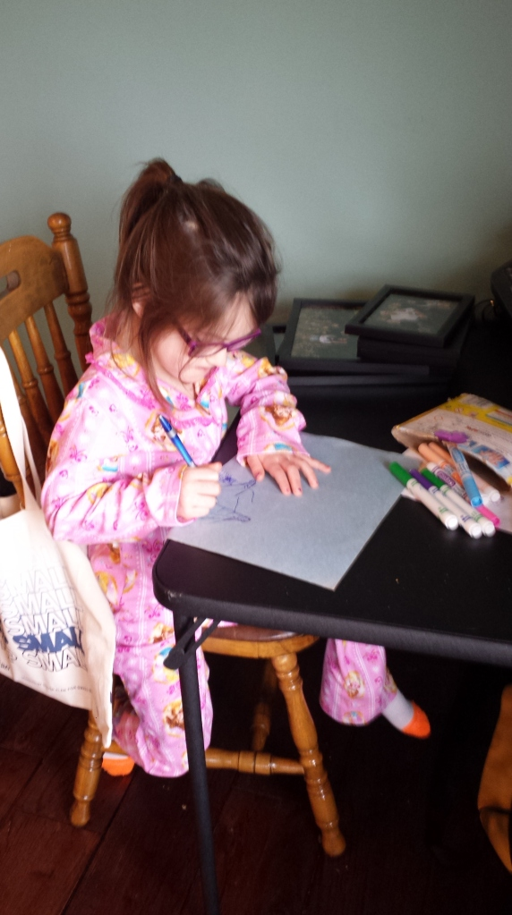 Lucy returns to drawing and making 'cards', I think it's a good sign
